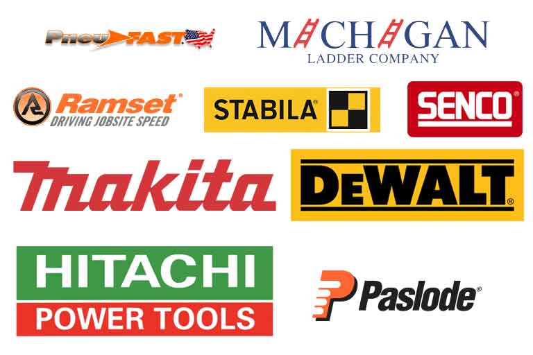 we carry pneufast, michigan ladder, ramset, stabila, senco, makita, dewalt, hitachi and many other brands